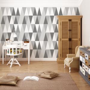 tapeta hexagons long grey