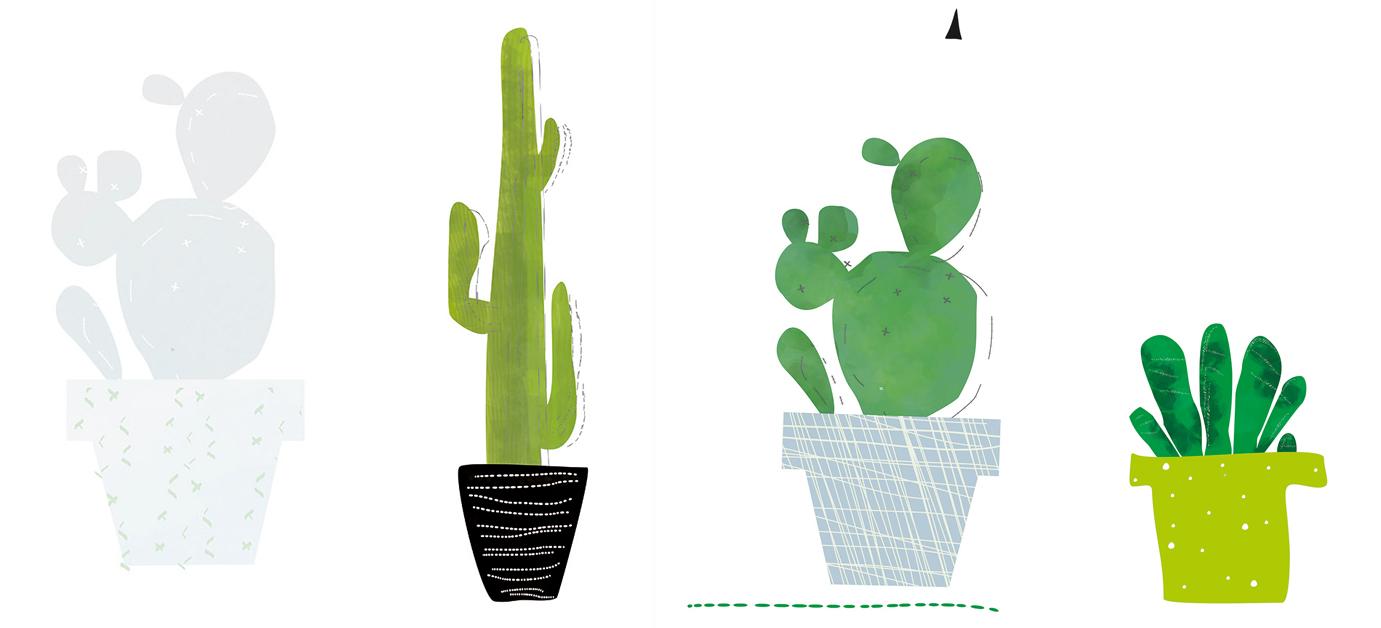 tapeta dziecięca w kaktusy w doniczce zielonej czarnej i niebieskiej