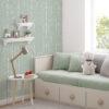 Pokój dziecięcy w tapetę Green Wool imitującą robótkę ręczną z zielonej wełny