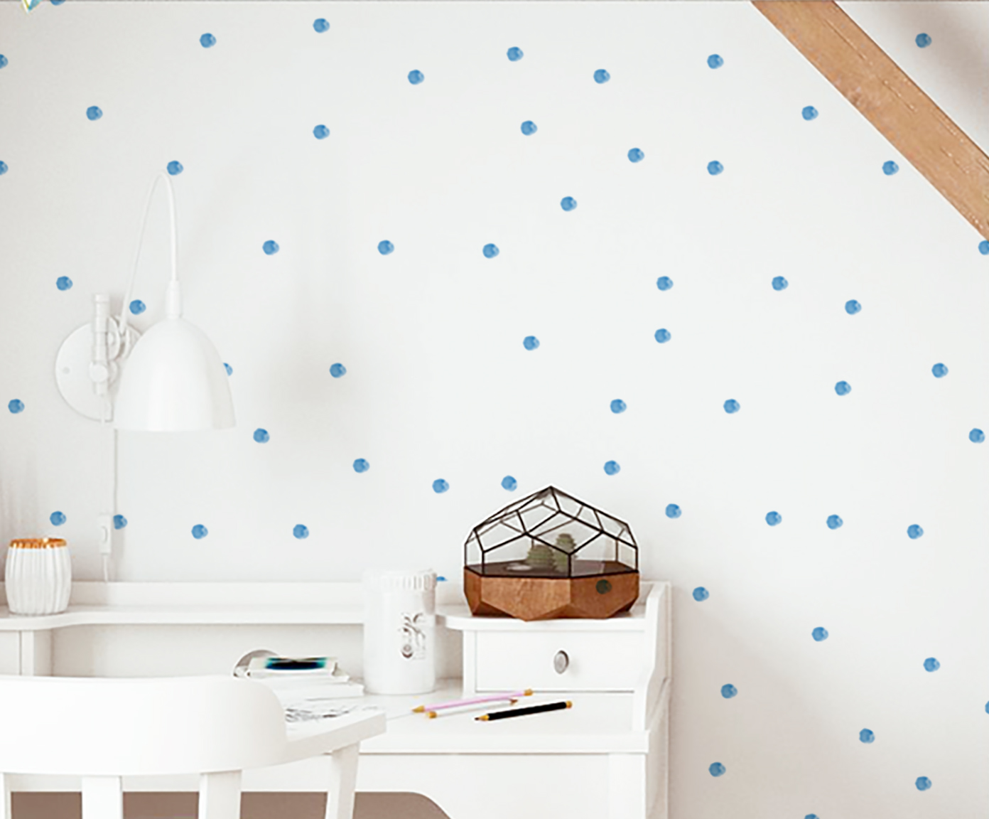 Tapeta Painted Blue Dots