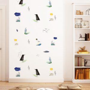 tapeta dla dzieci w ptaki do pokoju dziecięcego