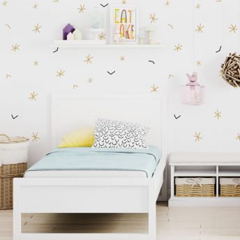 Tapeta dziecieca simple stars gold