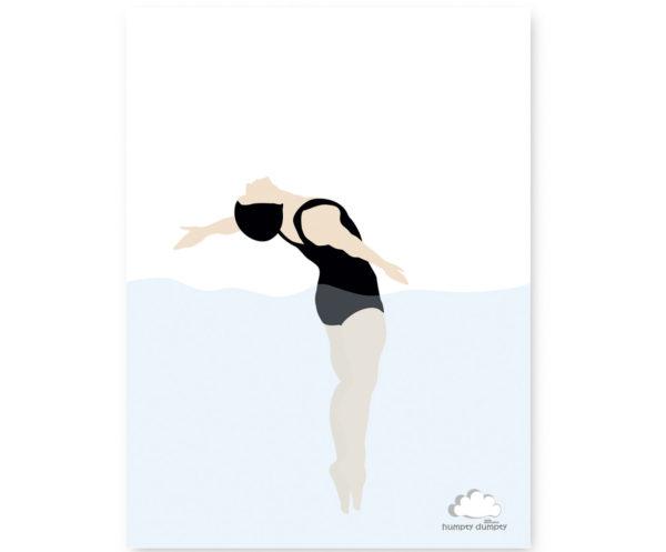 plakat dziecięcy black swimming 2