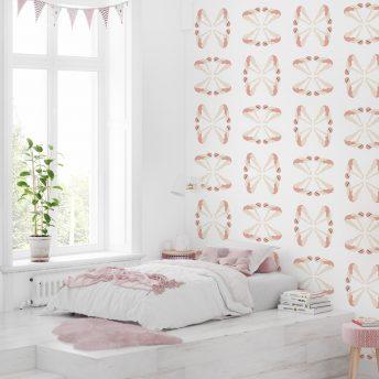 tapeta dla dzieci pink swimming design