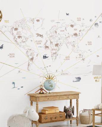 mural dzieciecy world map 2