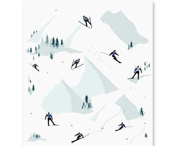 Mural dziecięcy Skiing